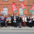 A SIPTU protest at Drogheda's Cottage Hospital on Monday
