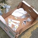 The box of syringes found on Bachelors Lane