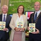 Malachy McCloskey, Mary T. Daly and Mayor Pio Smith at the launch of the Irish Legends book in the Tholsel on Thursday.