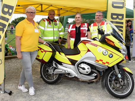 Bloodbikes members Maura Gogan Ayres Secretary, Peter Duffy Chairperson and Director, Karen O'Neill Volunteer and John O'Neill PRO at the Duleek GFC family fun day. Photo:Colin Bell/pressphotos.ie