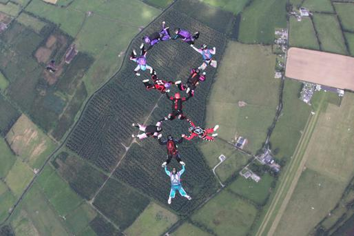 Lorraine Wilton from Drogheda was one of 11 women who took part in a two point sequential formation skydive recently.