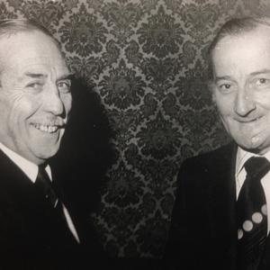 Mr Desmond Scaife, left, the retiring general manager of Butlin's Mosney, congratulating the new general manager Mr Tony McCullen, at a reception in the Shelbourne Hotel, Dublin, in 1974.