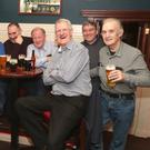 Jackie Hanratty (third from right) pictured on a night out with his fellow postmen to celebrate his retirement from An Post