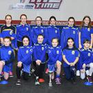 Wolfe Tones coach Stephanie Leonard with owner of Me Time Gym Jane Kerr, trainer Emma Brophy and players at the launch of the Wolfe Tones U-12 and U-14 girls teams