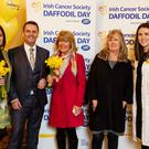 Irish Cancer Society Daffodil Day fundraising volunteers (from left) Grainne Lally-Black, Mary Convery and Lizanne Allen, from Drogheda, joined RTÉ's Aengus Mac Grianna and Boots Irish Cancer Society Information Pharmacist Clare O'Neill (far right) at the launch of Daffodil Day 2018. Daffodil Day, proudly supported by Boots Ireland, takes place on Friday, March 23