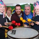 Rang a Sé pupils with their Principal Mrs. Conneely, teacher Mr. Woods and Kieran Gallagher from Kada Kaboom Arts at the Samba performance by the pupils in Tenure NS on Friday