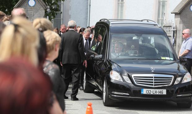 The funeral cortege departs for Mullary cemetery on Monday