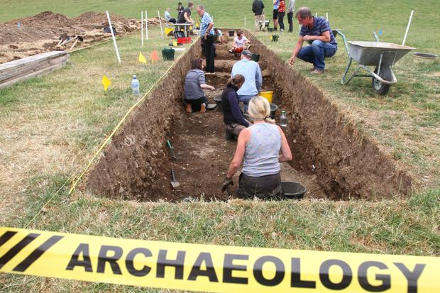 The site of a new trench dug at Newgrange where a significant find has been made