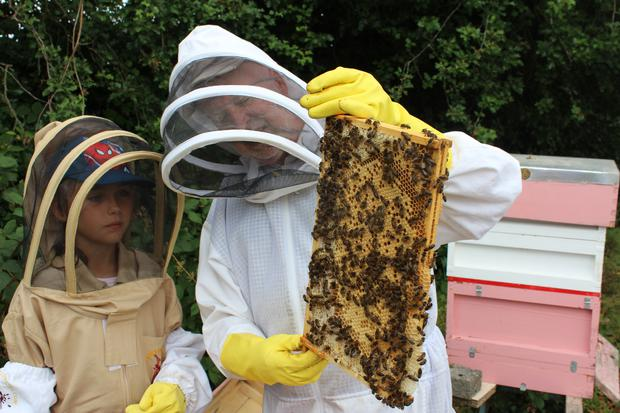 Local beekeeper Declan Monaghan with Shannon Cooney