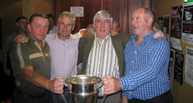Jim Walker, Tommy Mulrey, Seamie Briscoe & Vincent McGlew pictured with the Joe Ward Cup at a reception to celebrate the 25th anniversary of St Fechins first ever Louth Senior GAA Championship win of 1983.