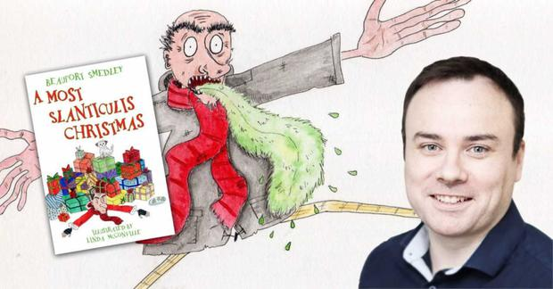 Shane Cowley aka Beaufort Smedley and the front cover of his book illustrated by Linda McConville