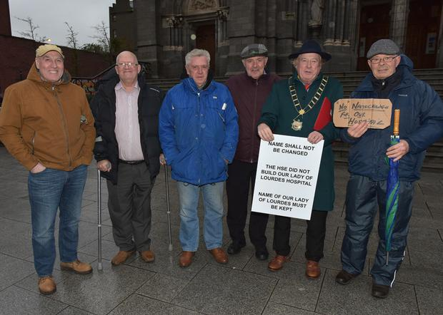 At the recent protest outside St Peter's, Gus Reay, Jimmy Nash, Bob McGuffin, Martin O Donoghue, Mayor Frank Godfrey and Paddy Kelly