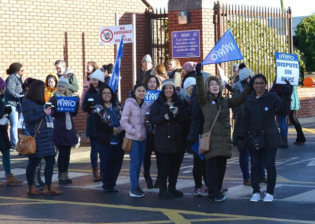 Fighting for the rights of nurses and midwives, INMO members at Our Lady of Lourdes Hospital