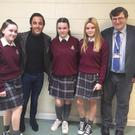 Sophie Barry, Casey O'Rourke and Martyla Tetrycz with Jake and principal John Halpin