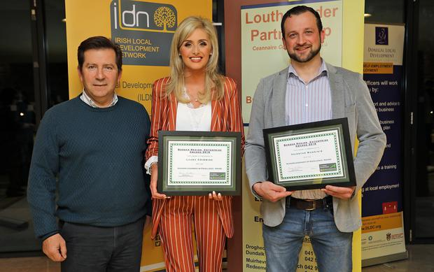 The Irish Local Development Network (ILDN), North West Regional Awards were held recently. Two County Louth Entrepreneurs were nominated for an award Pictured is Paul Branigan, Enterprise Manager, Louth Leader Partnership with Louth Nominees: Laura Crimmins The Beauty Boutique, Dundalk & Vaidotas Maneikis, Pause Time Photography, Drog