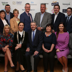 Sponsors Niall Franklin,Hanley Energy, Ros O'Shaughnessy, BD, Colette Moss, Louth County Council, Marian Caddell, Invader, Mark Butler, Irish Cement, Emer Dunne, Waterwipes, Thomas McEvoy, Local Enterprise Office, Patrick McCloskey, McCloskeys Bakery, Rory Callaghan,Nature's Best, Ronan Holcroft, First Citizen, Eamon McGuigan, Glanbia, Paul Brassil, Drogheda Credit Union, Peter Rowan, Yapstone, Catherine Macklin, Statestreet, Paula Harmon, Bank of Ireland, Chamber President Shona McManus, Eoin O'Flynn from Premier Sponsor Flogas, Marie Flemming from Anglo Printers, Nicola Tighe from AIB and Peter Dolan from Scotch Hall Sponsors at Launch of the Drogheda and District Chamber of Commerce 15th annual Business Excellence awards in the Highlanes Drogheda