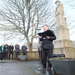 Pierce McGeough speaking at a remembrance ceremony to mark the anniversary of the murders of Sean O'Carroll and Patrick Tierney in Ardee by British forces in 1918