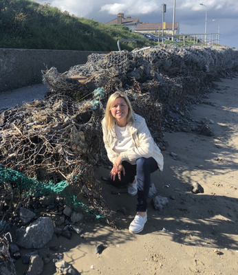 Cllr Tolan at the decaying gabions on the beach between Laytown and Bettystown