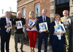 Anthony Abbott King senior planner, Cllr Frank Godfrey, Cllr Joanne Byrne, Mayor Pio Smith , Joan Martin CEO Louth Council and Frank Pentony Director of Services Louth County Council at the Launch of the Westgate Vision Plan.