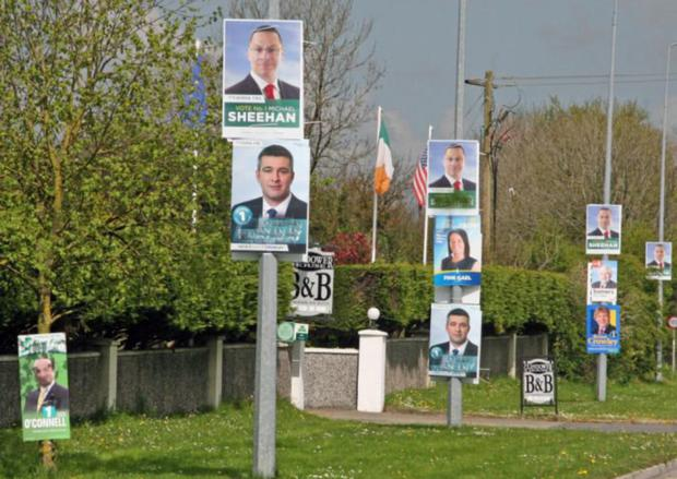 Election posters, similar to these, were cut down.
