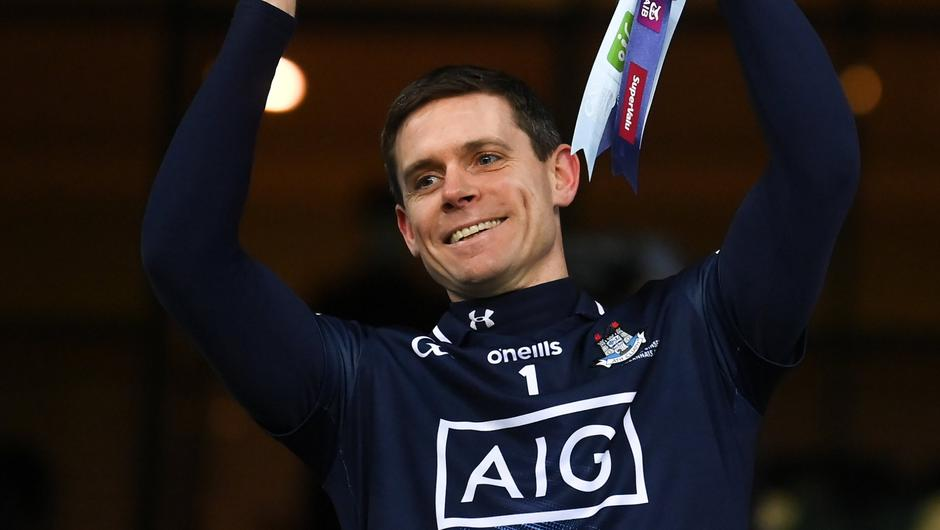 Dublin captain Stephen Cluxton lifts the Sam Maguire Cup once again. Photo by Stephen McCarthy/Sportsfile