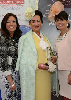 Pictured at Bellewstown Races, Karen Moloney Etihad Airways , Faith Amond Best Dress Lady and Sandra Finnegan Globe Travel. Photo: Jimmys People