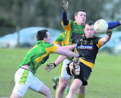 Duleek/Bellewstown's Brian Moore & Casey Dunne with St Peters' Aidan O'Connor. Photo: Colin Bell/pressphotos.ie