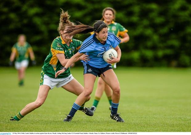15 May 2014; Molly Lamb, Dublin, in action against Kate Byrne, Meath. Aisling McGing Ladies U21 Football Final, Dublin v Meath, Clane, Co. Kildare. Picture credit: Piaras ? M?dheach / SPORTSFILE