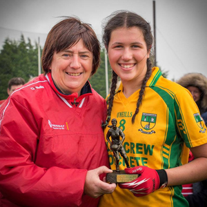 Caoimhe Boyle, joint captain along with Roisin Maguire, receives the Player of the Match award. Picture: Warren Matthews