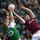 Sean Andy O'Ceallaigh of Galway in action against Killian Butler of London during the Connacht GAA Football Senior Championship Quarter-Final match between London and Galway at McGovern Park in Ruislip, London, England. Photo by Harry Murphy/Sportsfile