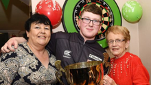 Keane Barry with Grannies Pauline Barry and Joan Floyd at his Homecoming Celebration at the Greyhound Bar, Duleek after winning the JDC World title just after Christmas 2019. Photo Jimmy Weldon