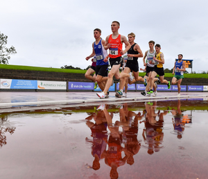 Tadgh Donnelly of Drogheda & District AC leads the field during the Junior Men's 1500m event during the Irish Life Health National Junior Track & Field Championships at Morton Stadium. Photo by Sam Barnes/Sportsfile