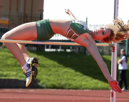 Amy McTeggart (Boyne AC) in the heptathlon high jump during the Hexham Decathlon and Heptathlon in the UK.