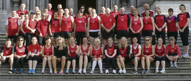 Some of Drogheda & District AC's participants on the steps of St Peter's Church before taking part in this year's Boyne 10K.