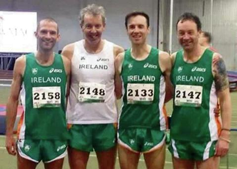 Mark O'Shea, Niall Donnelly, Robbie Maher and Michael Maher at the World Indoor Games in Budapest.