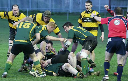 n Boyne attempt to secure ruck possession during Friday night's Anderson Cup clash. Pictue: Judith Chalmers