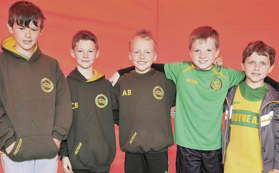 Callum Sheedy, Conor Bowe, Adam Byrne, Lorcan Molloy and Alex McHugh at Boyne AC's Open Sports day.