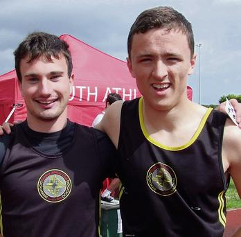 Conor McBride and Shane Cheshire, medallists in the sprint and long jump competitions.