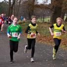 Boyne's Ciara Reilly, Harry Carolan and Moya McCabe sprint for the finish line during the Jingle Bells 5K