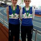 Conor McMahon (left) and Jonathan Commins (right) both medal winners in Athlone at the Leinster indoor track and field championships