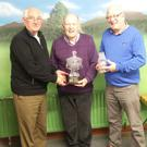 Eugene McKenna (left), Tom Devin (centre) and Paddy Griffin were all in action last week in the latest round of Greenhills Bowling Club Summer League Doubles