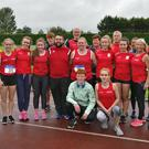 The Louth men's and women's teams at the National League Final.
