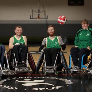 Tallanstown native Alan Lynch (centre) of Gaelic Warriors Wheelchair Rugby Club with teammates John McCarthy,Will Doggart and Amy FitzPatrick. Picture: Julien Bihal Photography