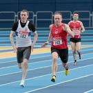 Karl Carton (142) on his way to winning gold in the 60m at the Leinster Indoor Track Championships.