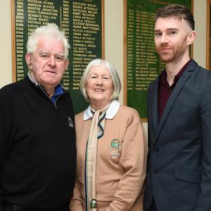 John McGrane, Lady Captain Bernadette McGrane and Joseph McGrane at the Seapoint Captains' Drive-in. Photo: Jimmy Weldon