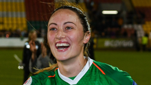 Megan celebrates with supporters after the Republic of Ireland's victory over Ukraine in the European Championship qualifier at Tallaght Stadium last October. Pictures: Sportsfile