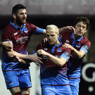 Sean Thornton, then of Drogheda United, is congratulated by teammates Colm Deasy, Gavin Brennan and Jake Hyland after scoring in one of the last League of Ireland games of his career against Shamrock Rovers a year ago. Photo: David Maher/Sportsfile