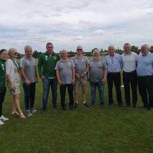 Pictured during FAI officials' recent visit to the Duleek soccer grounds at the Tollstone were (l to r) Megan Campbell, Cllr Sharon Keoghan, Martin Curran, Richard Dunne, Teddy Seery, PJ Reilly, Eamon Kelly, Pat O'Brien, Cllr Stephen Mc Kee and Donal Conway.