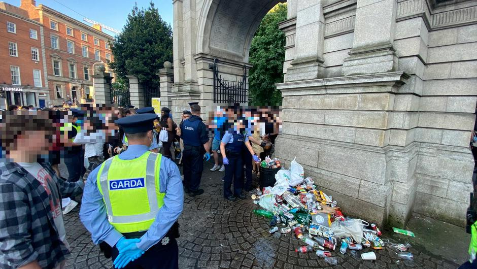 Gardaí move people on from St Stephen's Green, Dublin, on May 30, 2021. Photo: Niall Carson/PA Wire