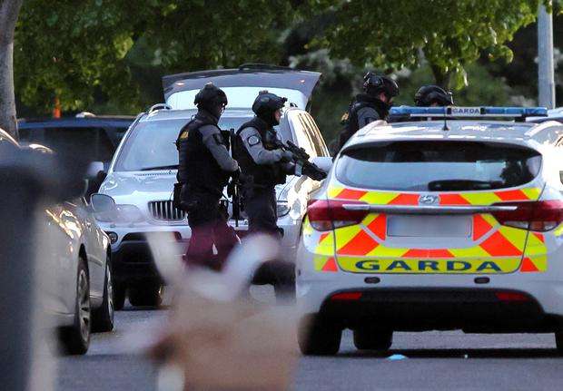 Armed Garda pictured at the scene of the siege at the Whitechapel Estste near Blanchardstown. Picture: Frank McGrath